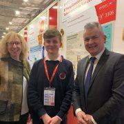 Caroline Clarke Principal Skerries CC, Adam Kelly Winner Young Scientist, CO DDLETB Paddy Lavelle